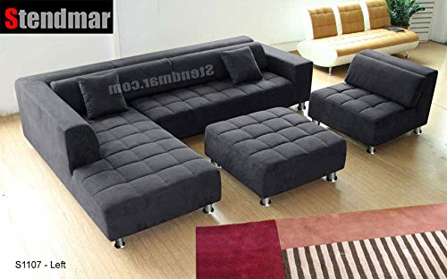 4pc Modern Dark Grey Microfiber Sectional Sofa Chaise Chair Ottoman S1107LDG : black microfiber sectional couch - Sectionals, Sofas & Couches