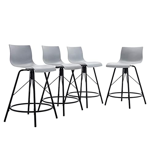 Tongli Modern Barstools Dining Chair Set Ergonomic Industrial Counter Height Bastool Chair Pack of 4 Gray 24