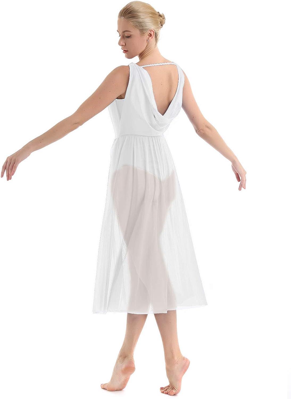iEFiEL Womens Lyrical Dance Costumes Mesh Split Ballet Leotard Dress Modern Contemporary