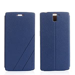 Walsontop™ 360 Degree Protection Flip Leather Case Cover For Oneplus one / Oneplus 1+ phone Case (Dark Blue) - Retail Packaging