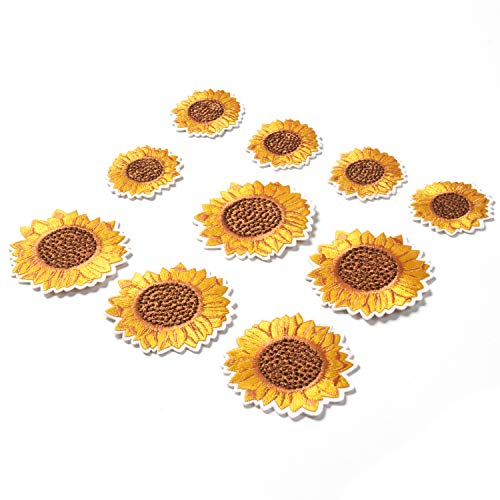 Sunflower Embroidery Patches Iron and Sew On Applique Badge for Clothes Jeans Jacket Hat Dress DIY Accessories (10 Pieces)