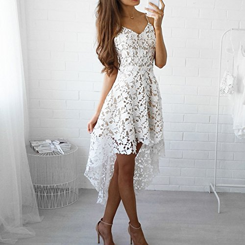 Femme V Robes Robes Blanc Couleur Bal Hibote de Sexy Cou Asymtrique Manches Cocktail Solide Robe Robe Robe sans Soire Sling Dentelle lgant z5ccdwqF