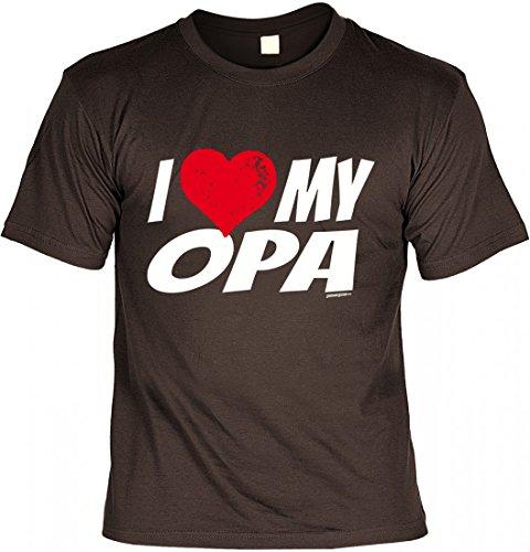 T-Shirt Grossvater - I love my Opa - Geschenk Idee mit Humor zum Vatertag Opatag oder Geburtstag - braun