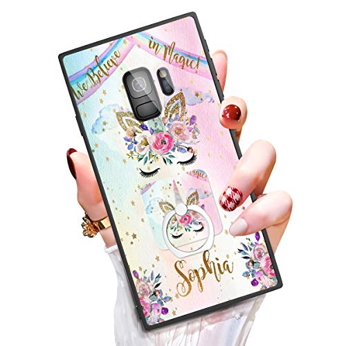 Someseed Samsung Galaxy S9 Case Galaxy S9 Case with Kickstand Ring Holder Duty Shock Absorbent Full Body Drop Protection Modern Cute Unicorn Design Cover for Samsung S9