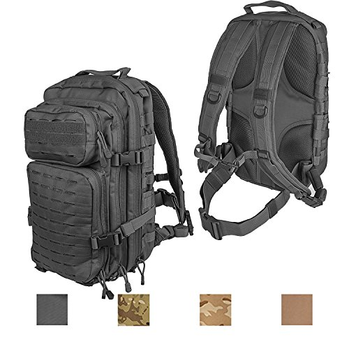 Lancer Tactical All-Purpose High Performance 3-Day Ruck Pack Heavy Tension Laser Cut MOLLE PALS Hydration Capable PVC Coated Device Friendly Trek Bug Out Hiking Ready Multiple Compartments - Black