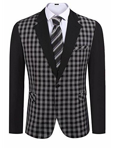 Jinidu Men's Slim fit Button Suit Separate Jacket Smart Wedding Formal - Suit Men Warehouse