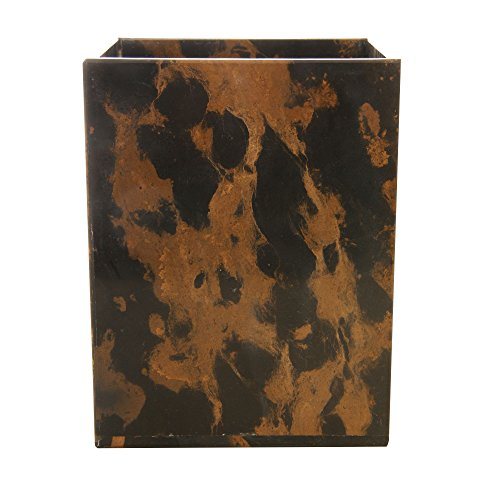 (Polished Marble Wastebasket, Black & Brown Shower and Bathroom Accessory)