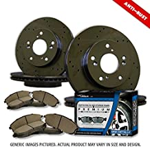 (Front+Rear Rotors + Semi-Met Pads)-Black Zinc Drill-(Fits:-2012 12 Dodge Grand Caravan w/302mm Front Rotor and Single Piston Front Calipers To 3/23/2012)