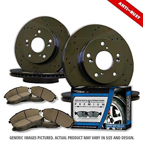 [(F+R Full Kit)4 Black Zinc Plated Drilled Disc Rotors + 8 Semi-Met Pads(5lug)-Combo Brake Kit] (Oem Full Kit)
