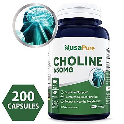 Best Choline Bitartrate 650 mg 200 Capsules (NON-GMO & Gluten Free) Enhance Cognitive Function & Mental Focus, Prenatal Infant Brain Development - 100% MONEY BACK GUARANTEE Order Risk Free!