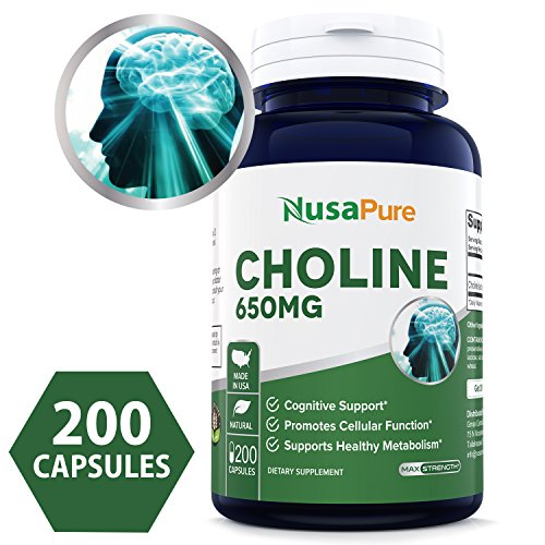 Best Choline Bitartrate 650 mg 200 Capsules (Non-GMO & Gluten Free) Enhance Cognitive Function & Mental Focus, Prenatal Infant Brain Development - 100% Money Back Guarantee Order Risk Free!