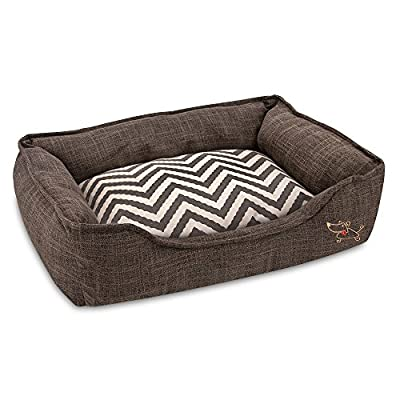 "Best Pet Supplies - Breathable Linen Pet Bed for Summer with Comfortable Padding | Square Medium Cozy Cuddler for Dogs and Cats (24"" x 19"" x 7"")"