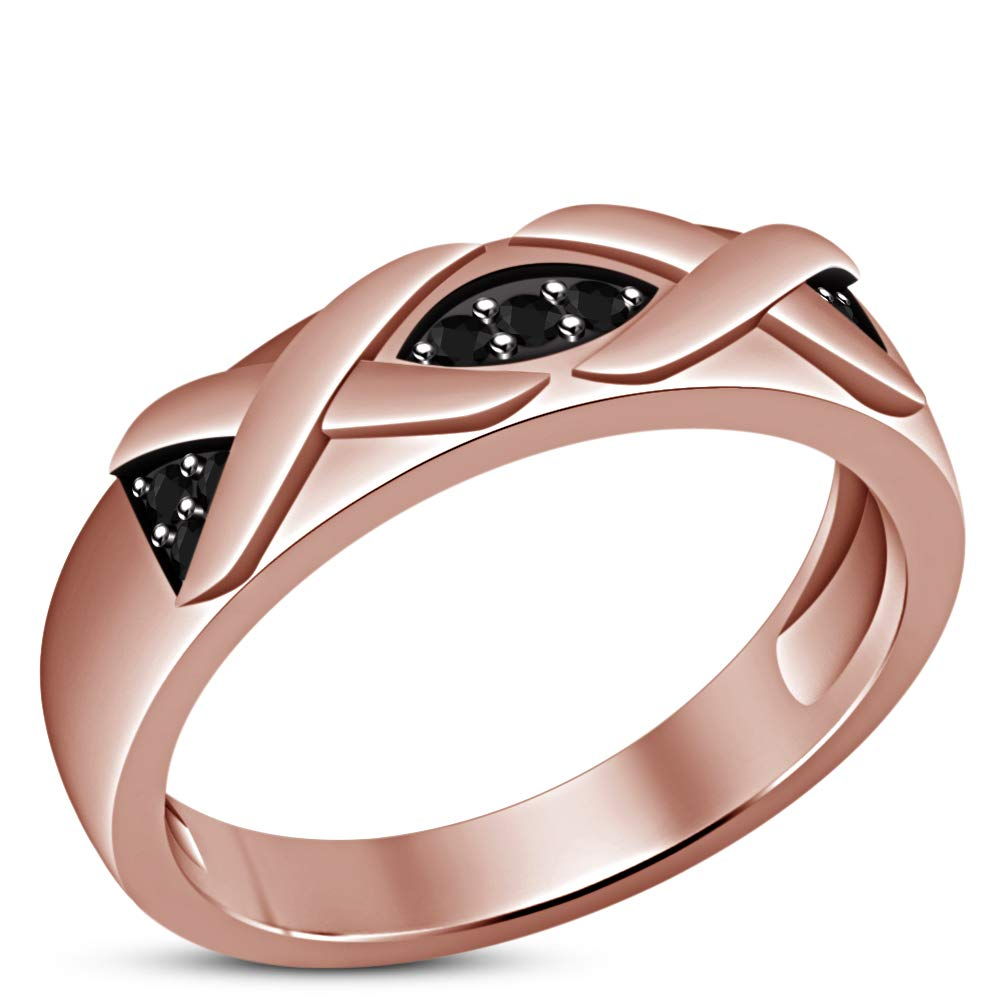 TVS-JEWELS Band Engagement Ring for Womens Round Cut Black Cubic Zirconia 925 Sterling Silver