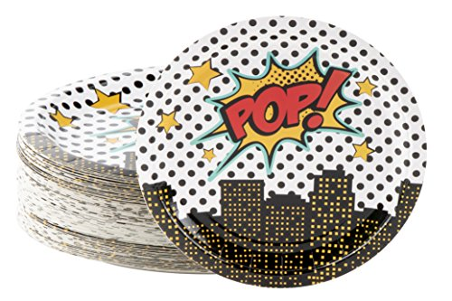 Disposable Plates - 80-Count Paper Plates, Superhero Party Supplies for Appetizer, Lunch, Dinner, and Dessert, 9 x 9 inches ()