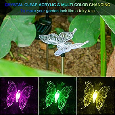 OxyLED Solar Garden Lights, Solar Stake Light Hummingbird Butterfly Dragonfly, Solar Powered Pathway Lights, Multi-Color Changing Outdoor Decorative Landscape Lighting for Garden/Patio/Backyard/Lawn