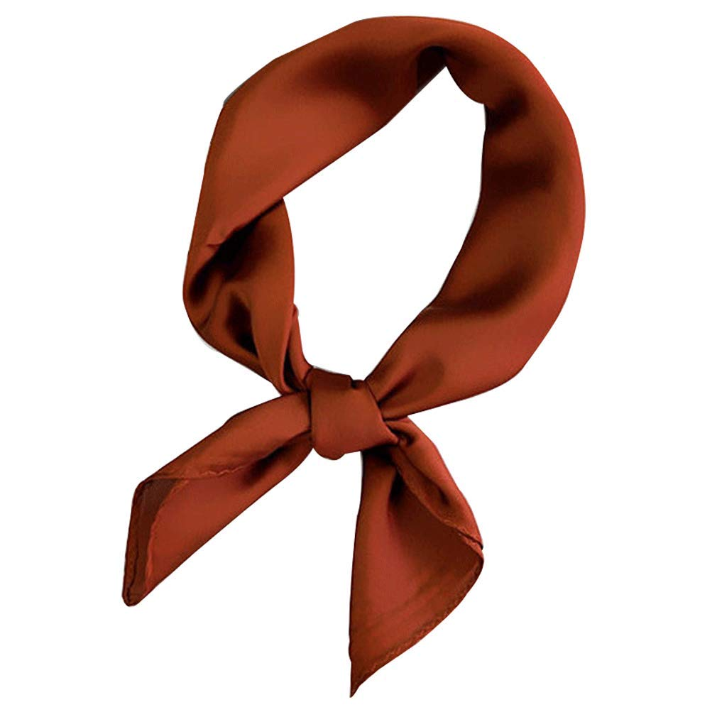 AMOYER Women Silk Feel Satin Square Scarf Shawl Small Plain Neckerchief Bandana Head Neck Headband Solid Color Hair Tie Red