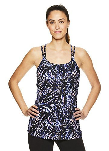 Gaiam Women's Strappy Racerback Yoga Tank Top w/Built-in Medium Impact Wireless Sports Bra - Black (Tap Shoe) - Lena, Medium