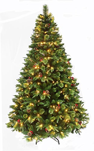 True Nature Beauty Pine/Pre-lit Christmas tree with LED/Hinged Construction Decorated Realistic Pine Christmas tree with pine Cones and red Berries (6ft Prelit) Pre Lit Cone