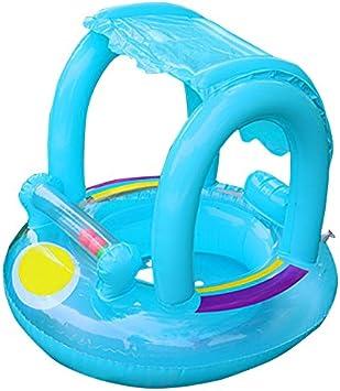 Flotador de natación para bebé con toldo inflable para piscina, flotador de barco, juguete flotante para bebés de 12 a 36 meses azul azul (Blue baby ...