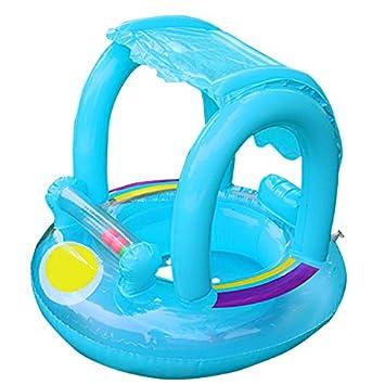 Flotador de natación para bebé con toldo inflable para piscina, flotador de barco, juguete flotante para bebés de 12 a 36 meses azul azul: Amazon.es: ...