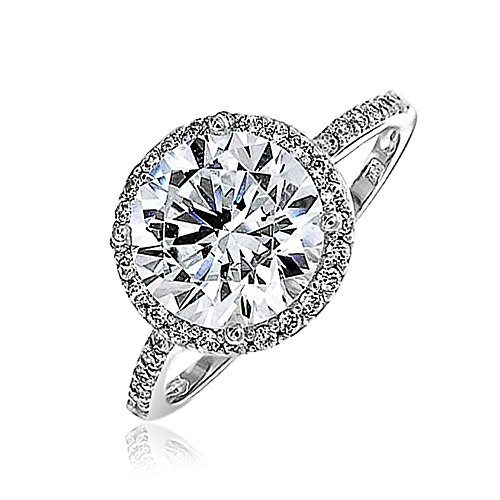Bling Jewelry Vintage Style 925 Sterling Silver Round Brilliant CZ Engagement Ring – Size 8
