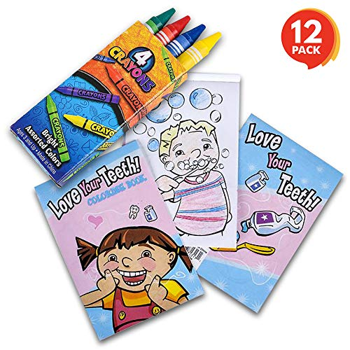 ArtCreativity Dental Coloring Book Kit for Kids (12 Sets) | Every Set Includes 1 Mini Color Book & 4 Crayons | Fun Birthday Party Favors/ Sleepover Party Supplies/ Great Gift Idea for Boys and Girls by ArtCreativity
