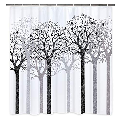 BLEUM CADE Modern timesm Mocha Tree Shower Curtain Silhouette Forest Shower Curtain with 12 Hooks Tree of Live Shower Curtain Waterproof Durable Curtain for Room (Curtain Shower Mocha Tree)