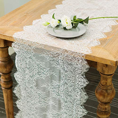 ARKSU 10 Packs White Lace Table Runner 18x120 Inch for Rustic Wedding/Thanksgiving/Baby & Bridal Shower Party -