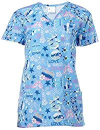 24|7 Comfort Scrubs Women's V Neck Scrub Top, Love Each Other, Small