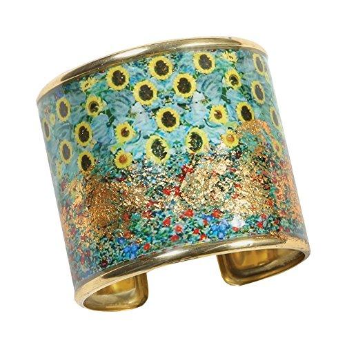 FLORIANA Women's Art Gold-Flecked Cuff Bracelet - Gustav Klimt/Vincent Van Gogh - Sunflower Garden