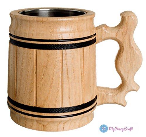 Handmade Beer Mug Oak Wood Stainless Steel Cup Gift Natural Eco-Friendly Wooden Tankard 0.3L 10oz Classic Beige