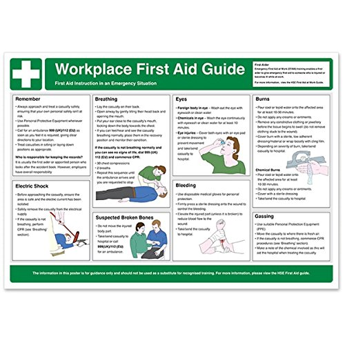 Workplace First Aid Guidance Poster - A2 (594 x 420mm) VSafety A2WC004