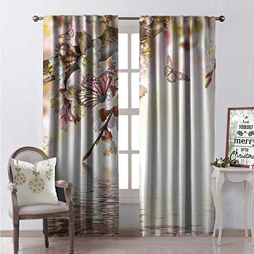 Hengshu Modern Waterproof Window Curtain Natural Floral Japanese Style Garden Cherry Blossom Sakura Tree Butterfly Nature Decorative Curtains for Living Room W72 x L108 Pastel Pink Yellow