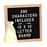 Letter Board, ShiningDay 10x10 Inches Oak Frame Changeable Felt Letter Board Include 290 Letters, Numbers & Symbols, with Mounting Hook, Grit Board and Canvas Bag