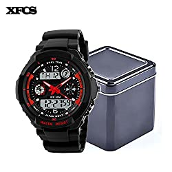 XFCS Waterproof Wrist Digital Automatic Watches For Men Digitais Watch Running Mens Man Digitales Clock(With Retail Metal Box)-Red