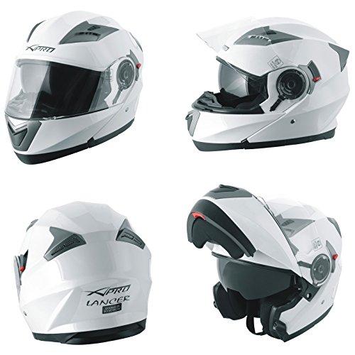 A-Pro Helm Klapphelm Innensonnenblende Motorradhelm Modular Weiss S