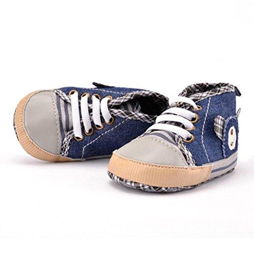 Saingace Bébé Ours Bande Chaussures de Toile Toddler Cowboy Chaussures Semelle Souple (13(13cm))