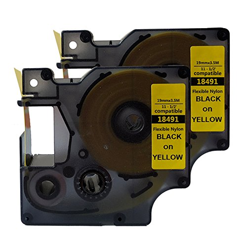 NEOUZA Compatible for DYMO 18491 Rhino Industrial IND Flexible Nylon Black on Yellow Label Tape 19mm 3/4