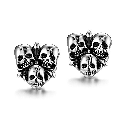 iCAREu Silver and Black Triple Skull Stainless Steel Stud Earrings -
