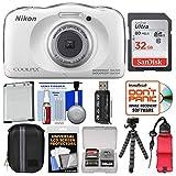 Nikon Coolpix W100 Wi-Fi Shock & Waterproof Digital Camera (White) with 32GB Card + Case + Battery + Flex Tripod + Float Strap + Ultimate Kit