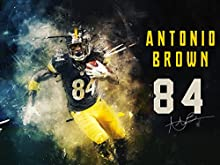 "777 Tri-Seven Entertainment Antonio Brown Poster Pittsburgh Steelers Art Print, 24"" x 18"""
