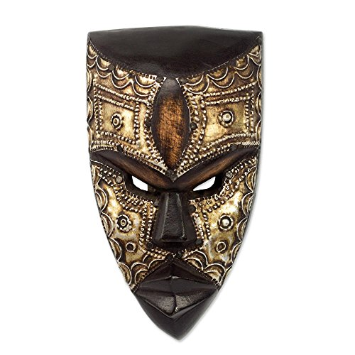 (NOVICA Hand Carved Brown Wood Ghanaian Wall Mask with Aluminum Accents, Mbara Hunter')