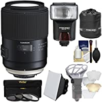 Tamron SP 90mm f/2.8 Di VC USD Macro 1:1 Lens with 3 Filters + Pouch + Flash + Soft Box + Diffuser Kit for Nikon DSLR Cameras