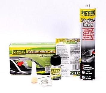 Petec - Juego de adhesivos adhesivas set montaje Parabrisas Luna trasera Incluye PETEC Parabrisas Alambre: Amazon.es: Coche y moto