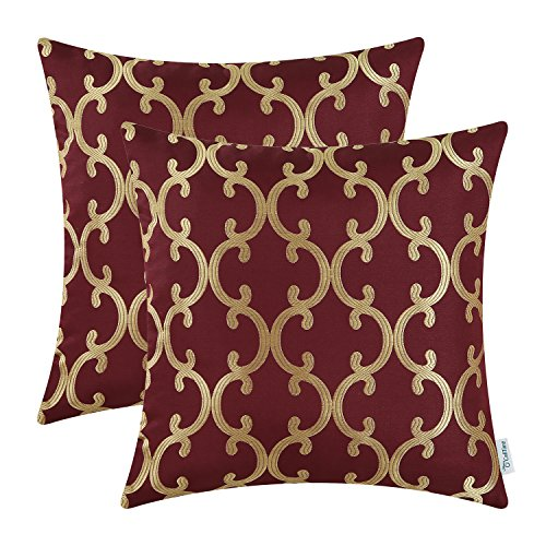 Pack of 2 CaliTime Throw Pillow Covers Cases for Couch Sofa Home Decor, Modern Quatrefoil Geometric Accent, 18 X 18 Inches, Burgundy (Pillows Gold Red And Accent)
