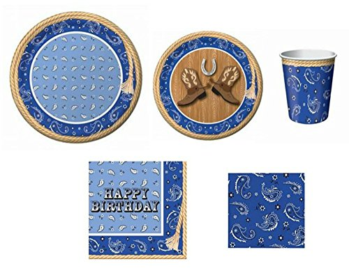 Blue Bandana Cowboy Happy Birthday Party Supplies for 8, 5-Piece -
