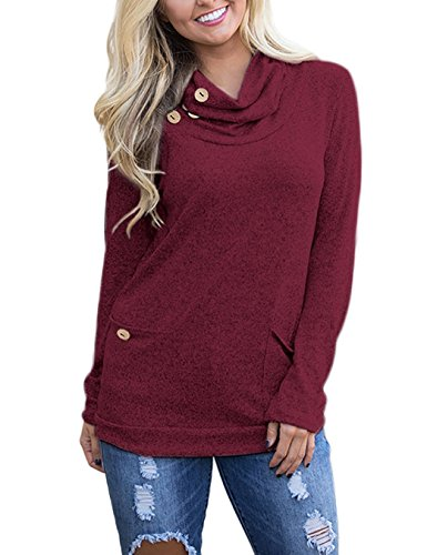 Womens Long Sleeve Button Cowl Neck Casual Tunic Tops Sweatshirt With Pockets Large Wine (Cowl Neck Chain)