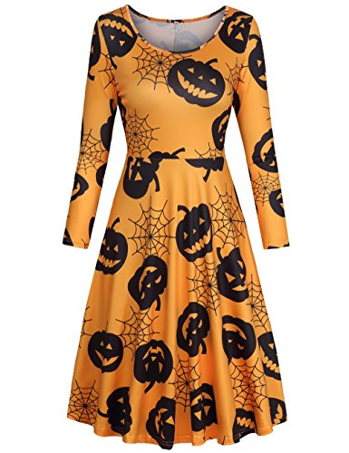 Fall Dress,SUNGLORY Women's Casual Orange Pumpkin Printed Halloween Midi Dress Yellow Pumpkins L