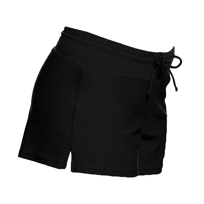 d7027912cf MagiDeal Fashion Plain Solid Women's Swim Boardshorts Stretchy Boy Style  Shorts Surf Bikini Swimwear Bottom Hot