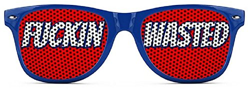 F**kin Wasted Sunglasses - Funny Wayfarer Shades - Red White and - Sunglasses Outrageous